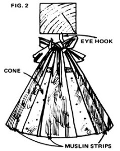 The cone is later hung from a hook by knotted strips of unbleached muslin.